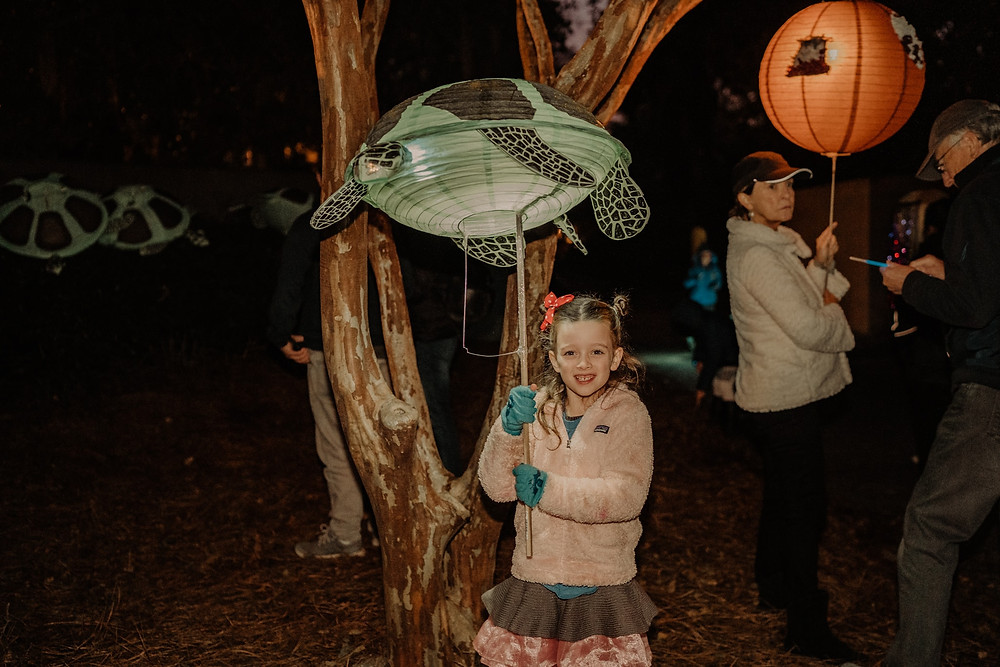 little girl holds up a turtle lantern in front of a tree