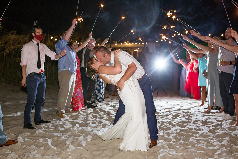 sparkler sendoff for bride and groom on beach