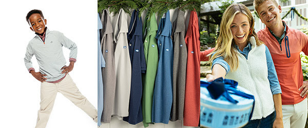 little boy with southern tide polo, polos hanging on a rack and a man and woman gifting a blue box