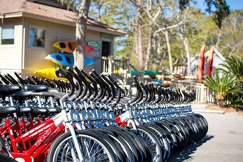 line of bikes outside shop