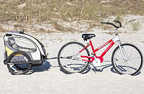 beach bike with child cart