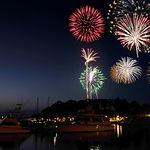 Fireworks Over A Marina