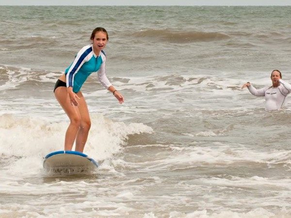 Surfer taking lessons at Hilton Head
