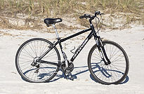 geared bike on beach