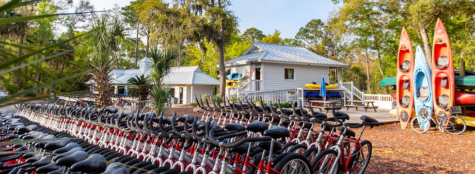 kayak rental shop with bikes in front