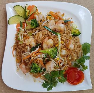 Smažené rýžové nudle s krevetami