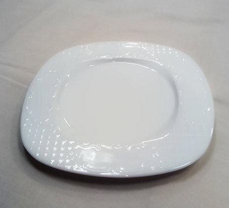 Bajo plato blanco cuadrado