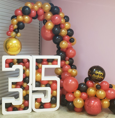 Celebrate your milestone birthday or anniversary in style! 4 foot numbers stuffed with balloons and an organic arch to compliment it all in one package! Your choice of colors   $475