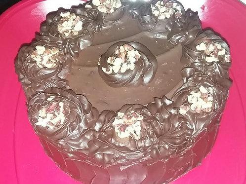 CHOCOLATE GANACHE PECAN CAKE