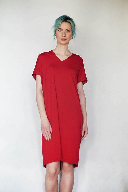 Oversized šaty s V výstřihem červené
