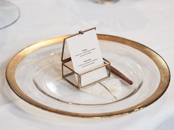 Skleněný talíř podkladový - zlatý vzor