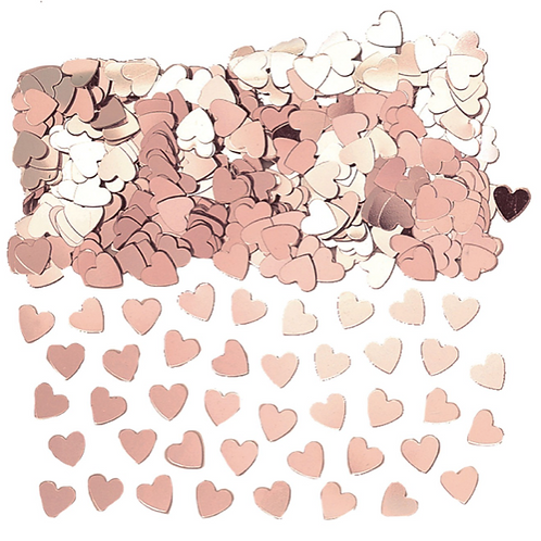 Srdíčka konfety růžovo-zlaté