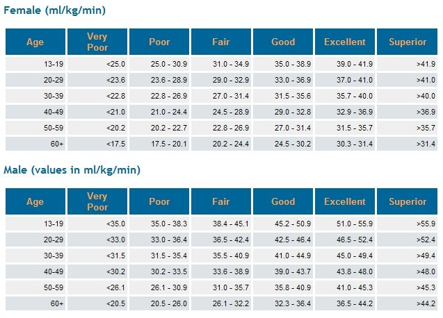VO2Max Average scores for age group and gender.