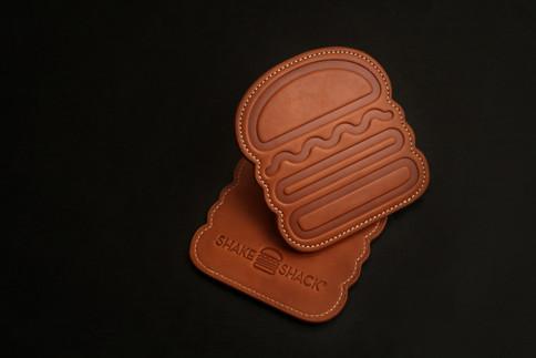 Leather Coaster Set in Burger Shape