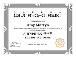 Reiki Level III/Masters Certificate