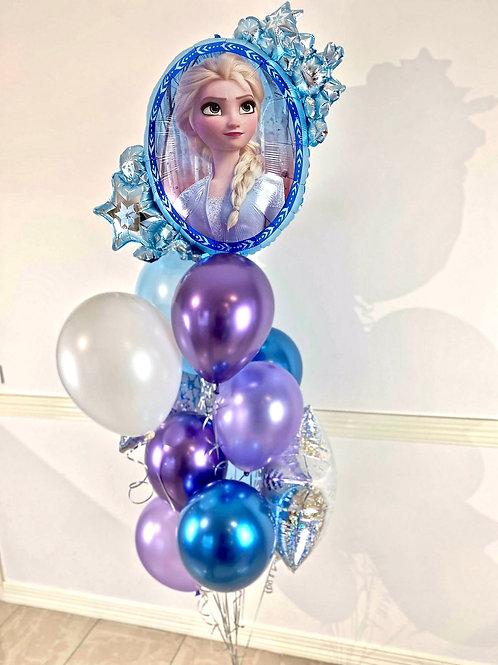 Frozen Elsa and Anna  Balloon Cluster