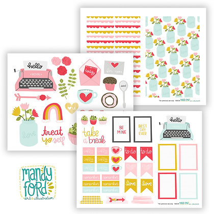 Valentine Themed Printable Planner & Scrapbooking Stickers