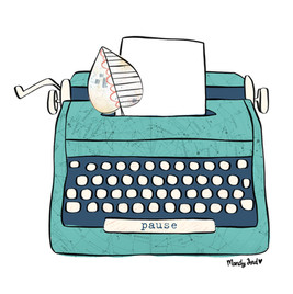 typewriter illustration for Illustrated Faith