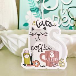 Cats, Coffee & Crafts Vinyl Sticker