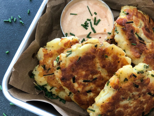 POTATO & CHIVE FRITTERS WITH BBQ MAYO.