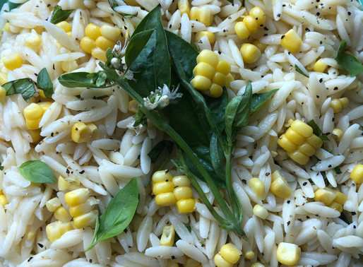 LEMONY ORZO SALAD WITH CORN & HERBS