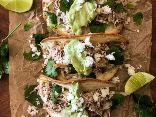 SLOW COOKER PORK TACOS WITH AVOCADO CREAM