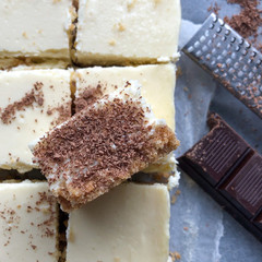 dark chocolate dusted cheesecake squares