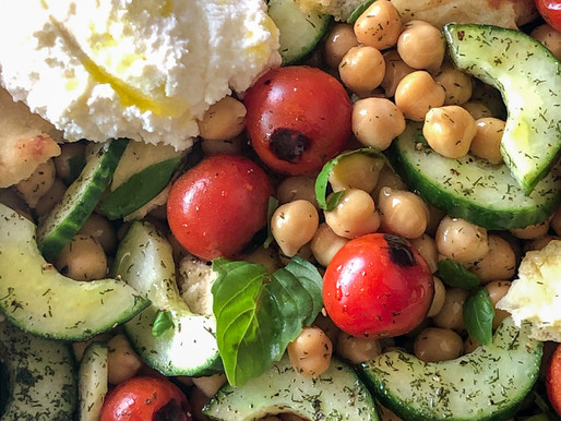 NAAN & CHICKPEA PANZANELLA WITH SEARED TOMATOES AND RICOTTA