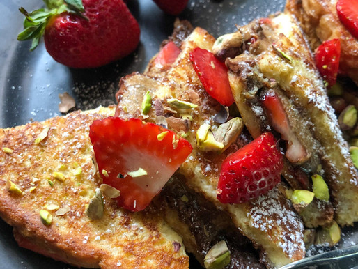 CHOCOLATE DIPPED STRAWBERRY & NUT BUTTER STUFFED FRENCH TOAST