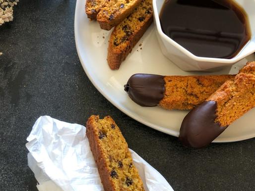 CHOCOLATEY PUMPKIN BISCOTTI (GLUTEN-LITE!)