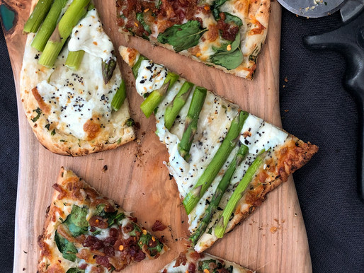 FLATBREAD PIZZAS: EVERYTHING ASPARAGUS & BACONY SPINACH