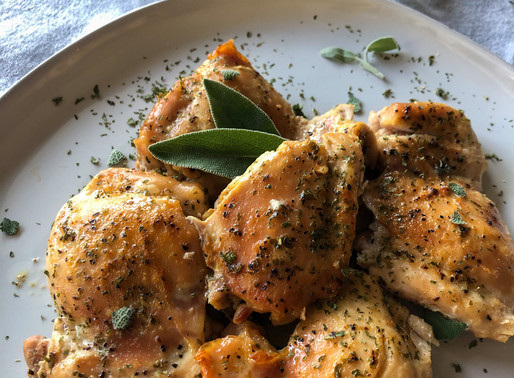 SOFT CHICKEN THIGHS WITH SAGE
