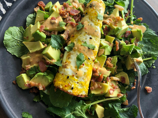 KALE BACON AVOCADO SALAD WITH ROLLED EGG