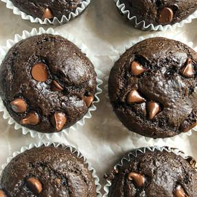 CHOCOLATE-FUDGE AVOCADO MUFFINS