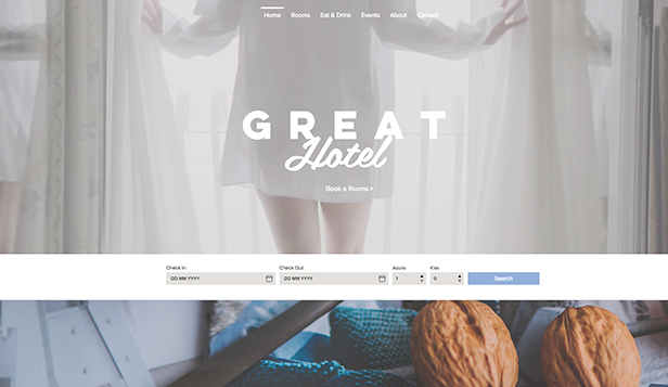 Accommodation website templates – Great Hotel