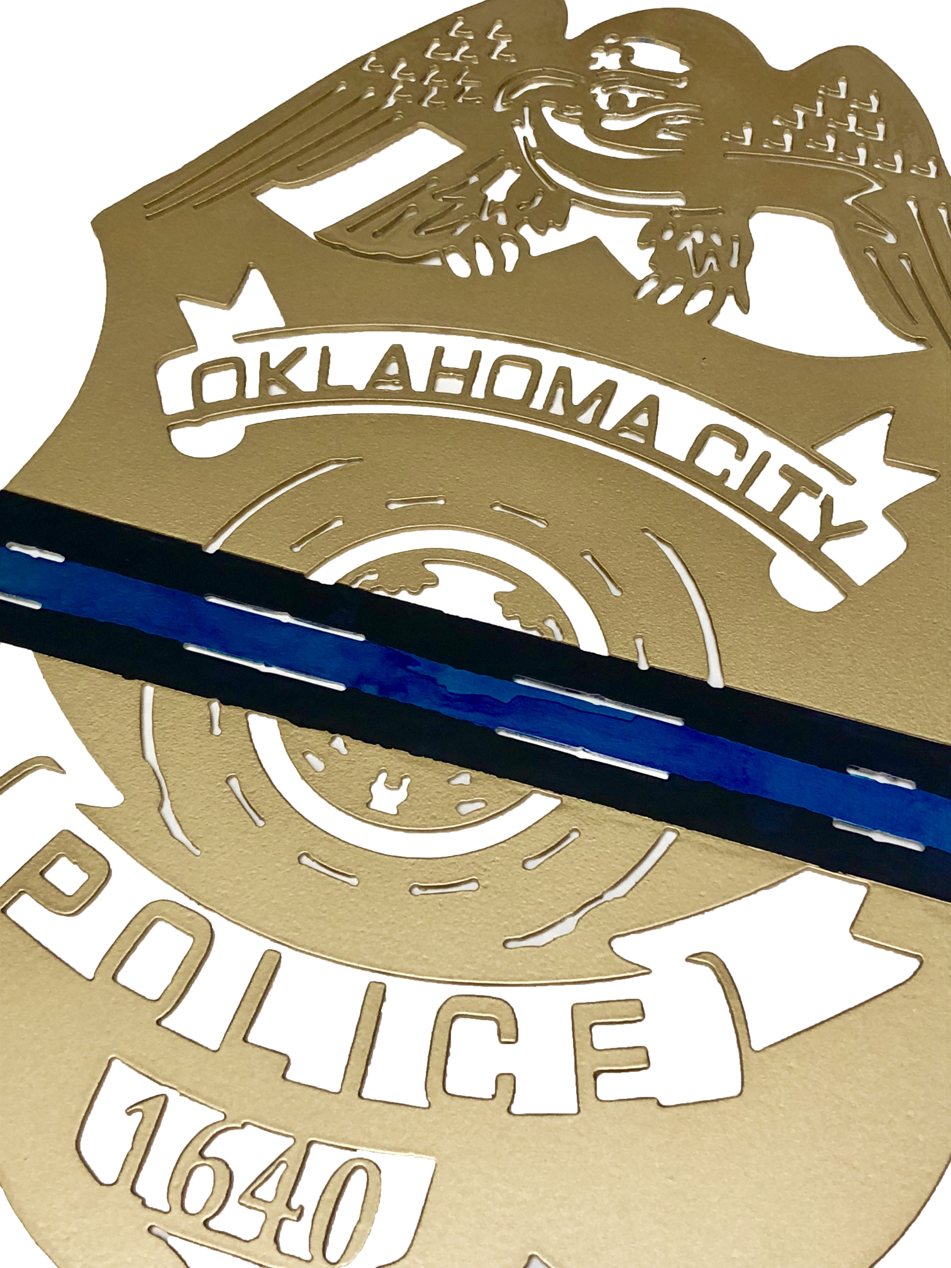 OKC Thin Blue Line Police Badge Angle_Custom