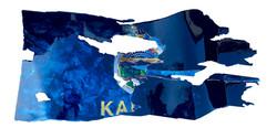 Kansas-Thin Blue Line Custom Flag 2