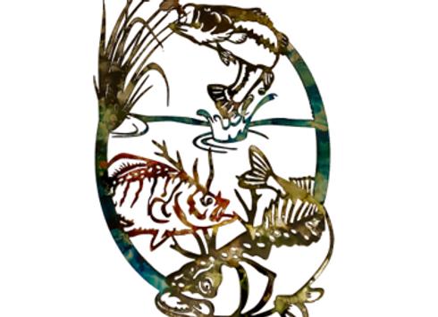 Cattail Fishing Scene