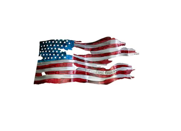 For God & Country Tattered Flag