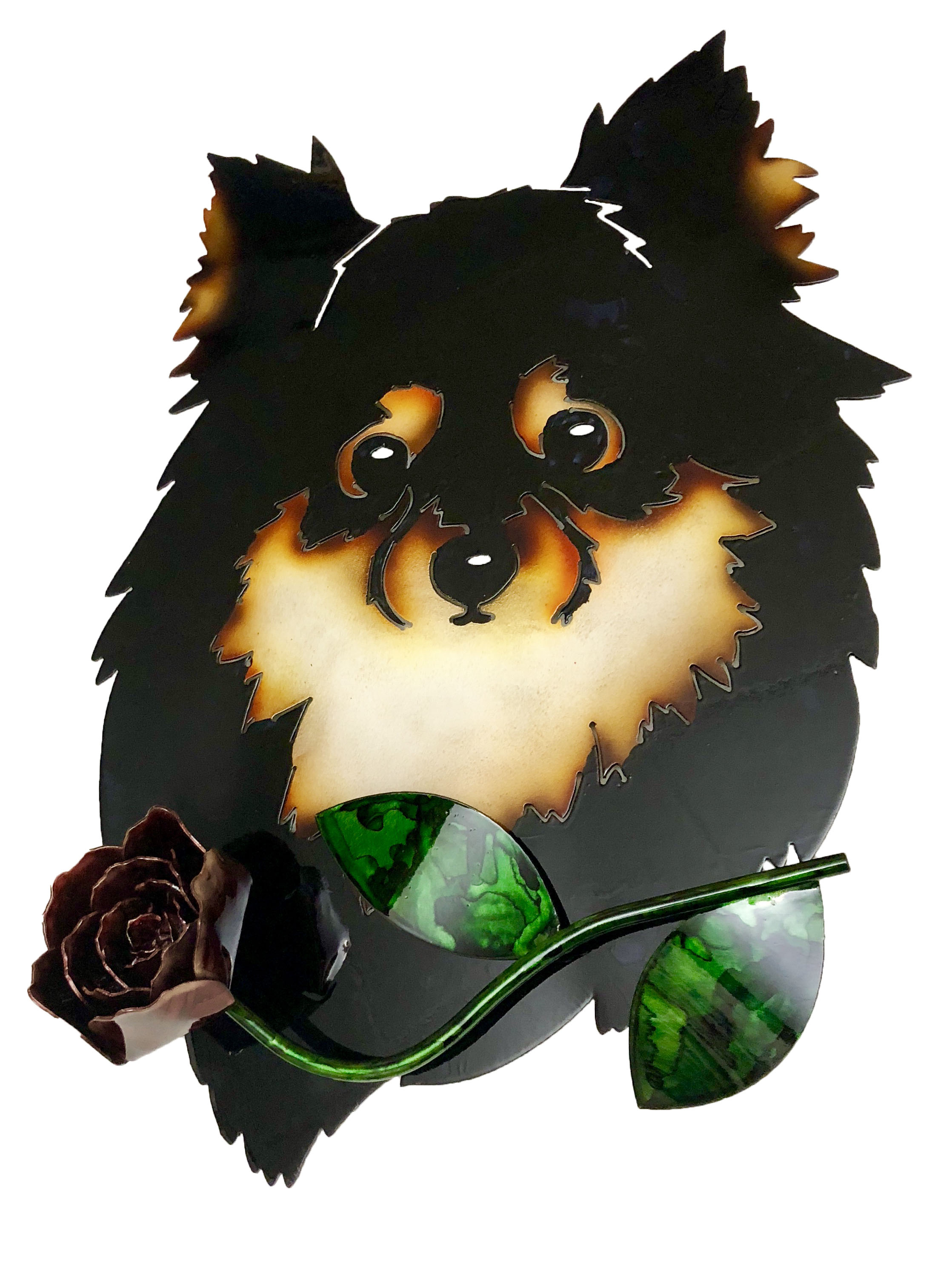 Custom Pomeranian with Rose