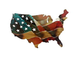 USA Waving Map Flag