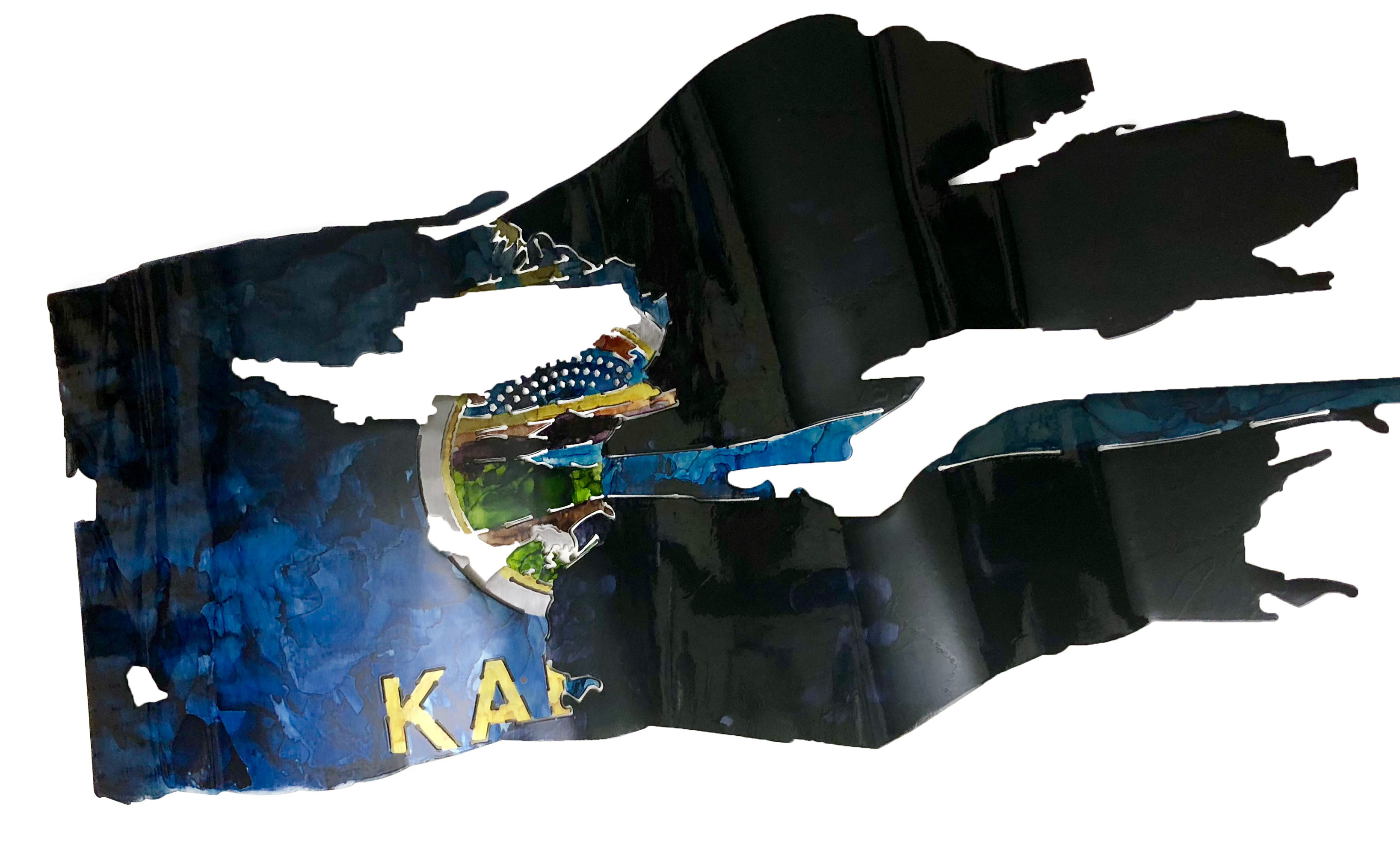 Kansas-Thin Blue Line Custom Flag