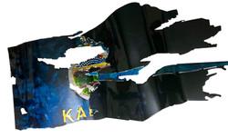 Kansas-Thin Blue Line Custom Flag