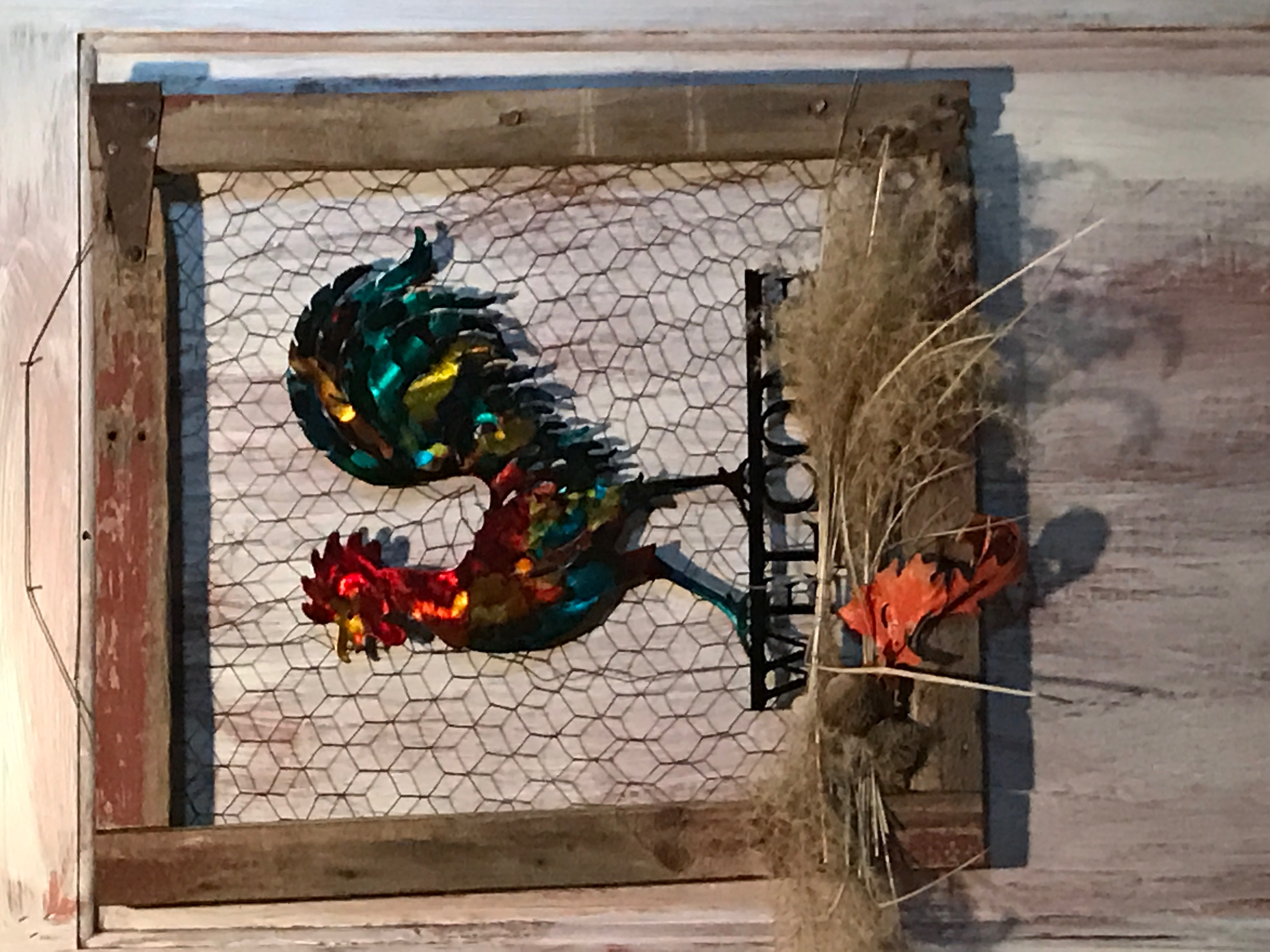 Welcome Rooster in a frame