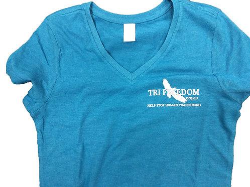 1 Walks Free Ladies V-Neck T-Shirt