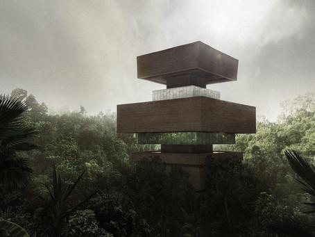 Museu de pesquisa em forma de pirâmide em degraus construído na selva mexicana