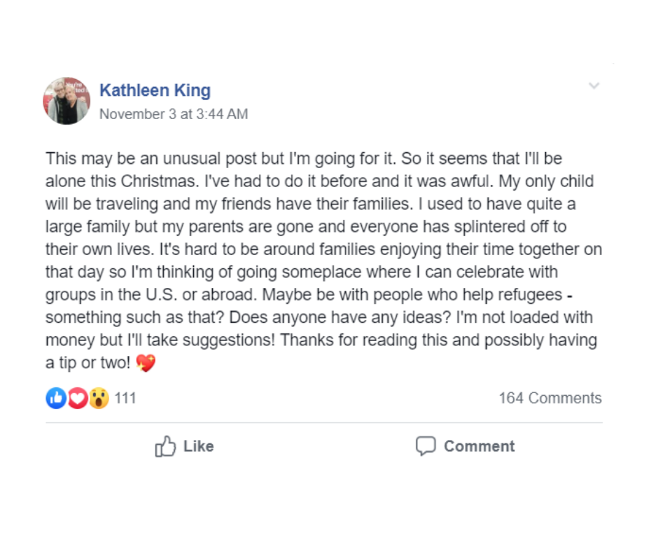 Kathleen King Facebook post to Women Who Travel group