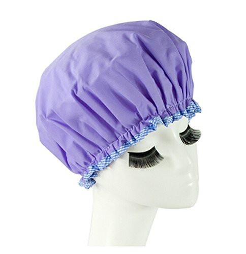 Purple shower cap and mile-long eyelashes