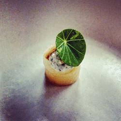 Second bite. Miso braised parsnip, pickled apple, nori cream, fried shallot, nasturtium