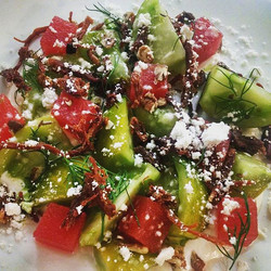 Green zebra tomatoes, compressed watermelon, horseradish creme fraiche, caraway, dill, fried ham hoc